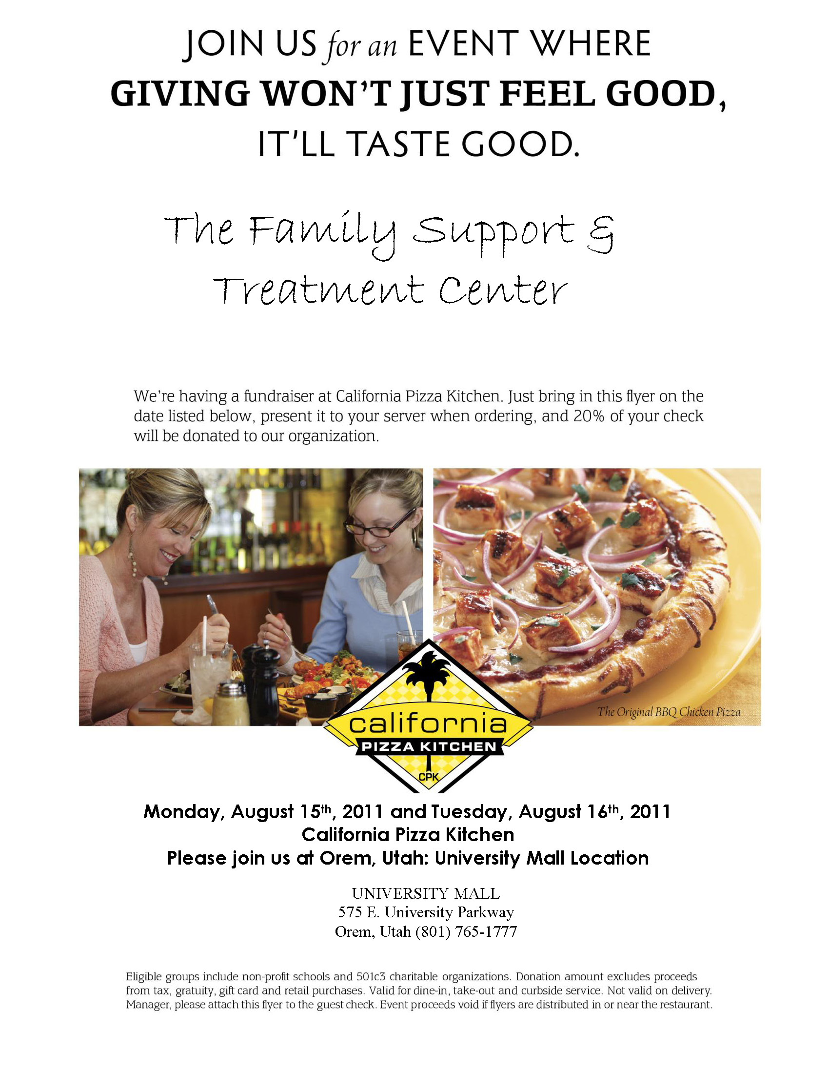 Support FSTC, California Pizza Kitchen, Orem • Utah Valley Moms