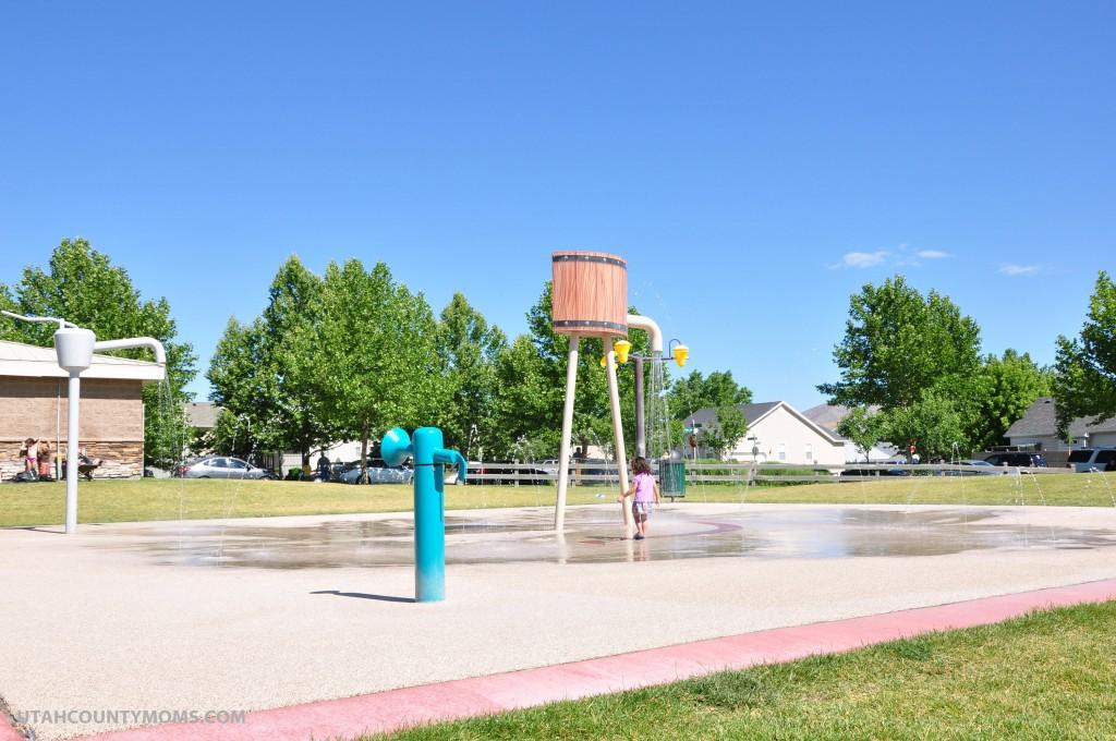The splash pad area.