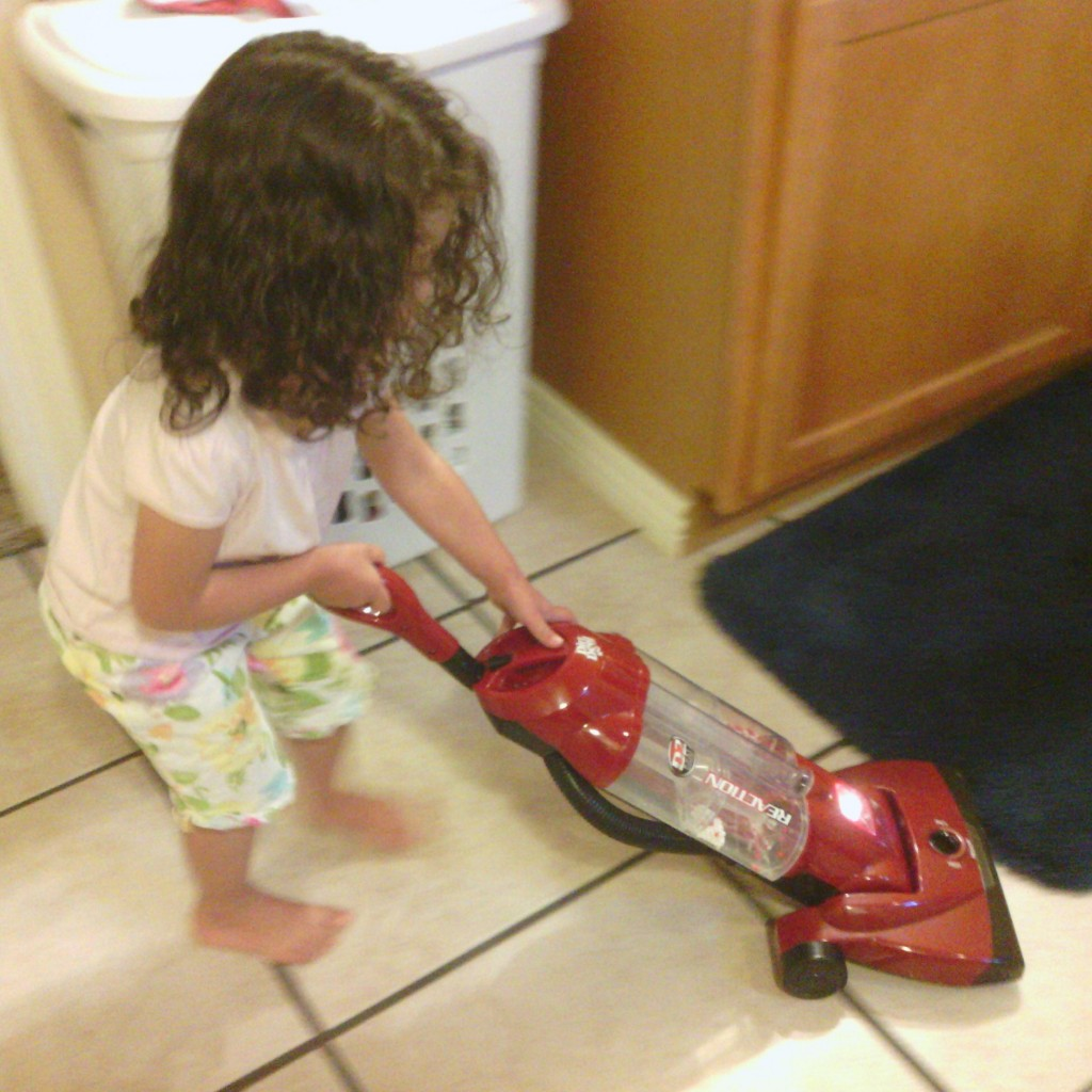 One day I was getting ready at 4 pm (don't judge) and my daughter noticed the floor was messy. She went and got the vacuum all by herself and cleaned it up.