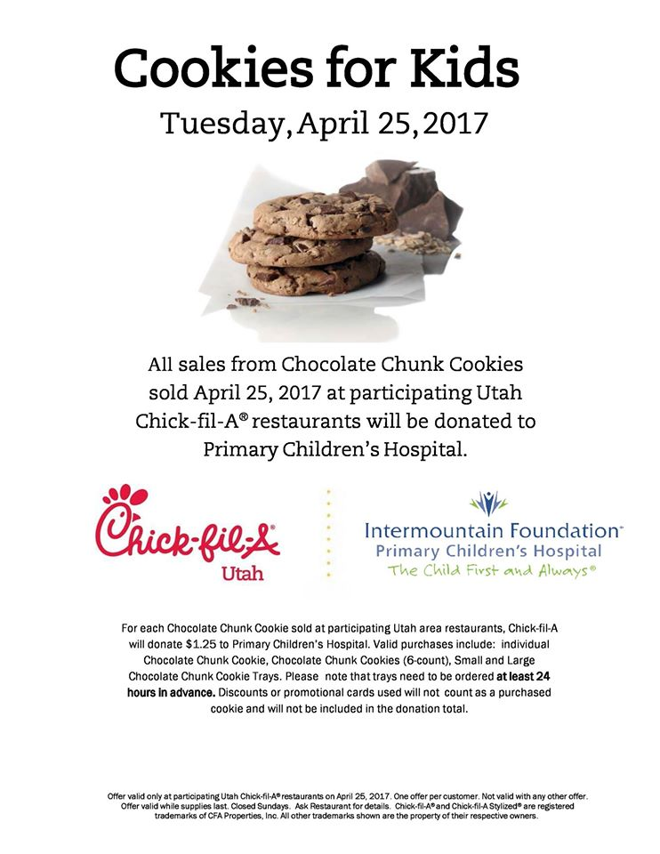 Cookies For Kids Chick Fil A Utah Valley Moms