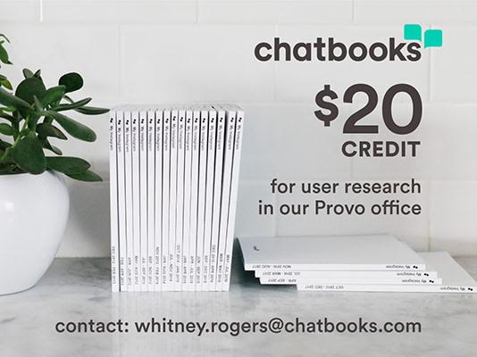 Get Chatbooks credit for a one-hour long user research group.